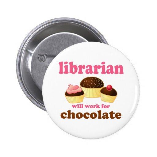 Bouton drôle de bibliothécaire pin's avec agrafe