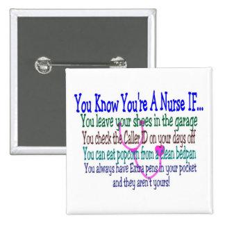 Bouton drôle d'énonciations d'infirmière badge avec épingle