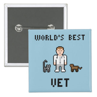 Bouton du vétérinaire du monde de pixel le badge