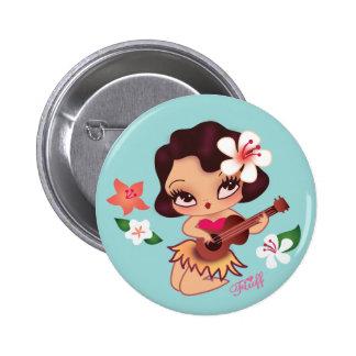 Bouton d'Ukelele de jeux de Lulu de danse polynési Badge Rond 5 Cm