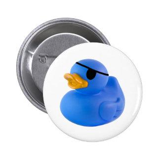 Bouton en caoutchouc de canard de pirate bleu badges