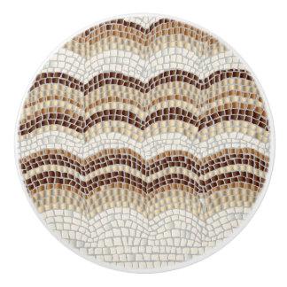 Bouton en céramique de mosaïque beige