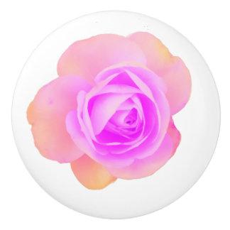 Bouton en céramique de rose de rose de pêche