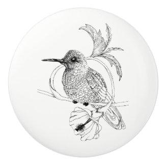 Bouton en céramique d'illustration d'oiseau de