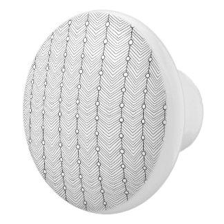 Bouton en céramique noir et de blanc de rétro