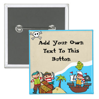 Bouton fait sur commande de partie de pirate badge carré 5 cm