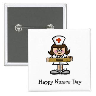 Bouton femelle d'infirmière de jour heureux d'infi badge carré 5 cm