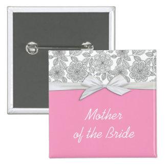 Bouton floral gris de luxe de rose de damassé pin's