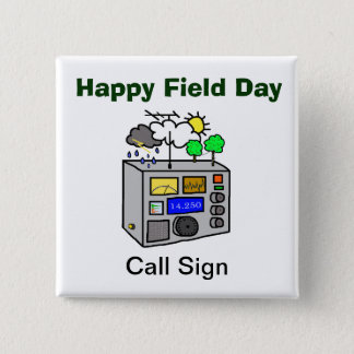 Bouton heureux de carré de radio-amateur de jour badges