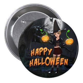 Bouton heureux de Halloween Skye Badge Rond 7,6 Cm