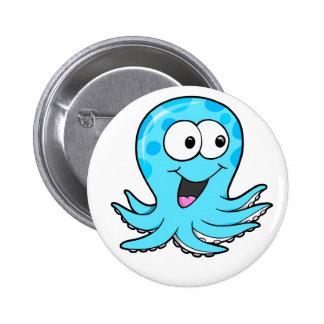 Bouton heureux mignon de poulpe badge rond 5 cm