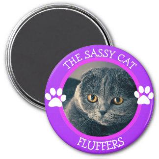 Bouton humoristique personnalisé de photo de chat magnet rond 7,50 cm