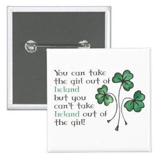 Bouton irlandais de carré de fille de shamrocks pin's