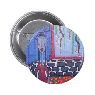 bouton japonais de dame de thé badge rond 5 cm