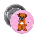 Bouton mignon de boxeur de chien de bande dessinée pin's avec agrafe