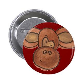 Bouton mignon de singe de bande dessinée badge rond 5 cm