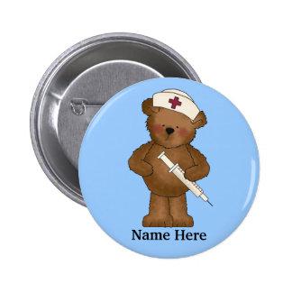 Bouton mignon d'ours d'infirmière pin's avec agrafe