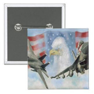 Bouton militaire américain d'avions badge carré 5 cm