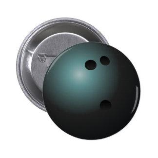 Bouton noir de boule de bowling badge