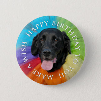 Bouton noir de joyeux anniversaire de laboratoire badges