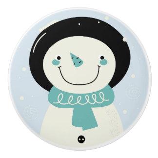 Bouton original en céramique : Bonhomme de neige