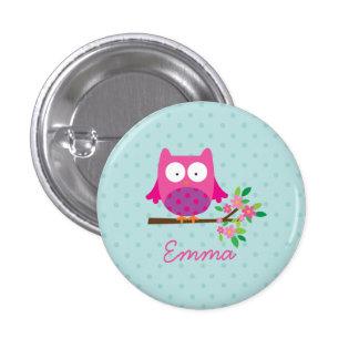 Bouton personnalisé par hibou mignon rose badge avec épingle