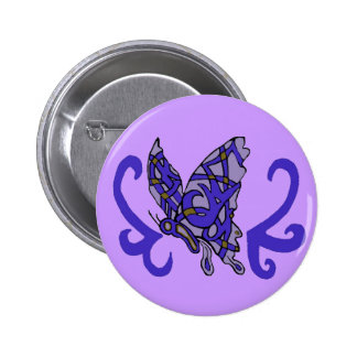 Bouton pourpre-bleu tribal de papillon badges