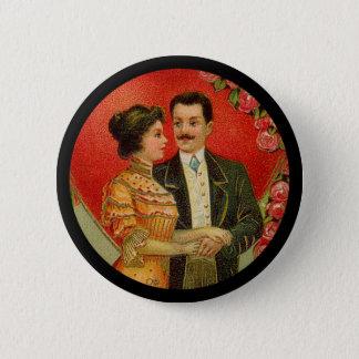 Bouton romantique vintage de Valentine de couples Badge