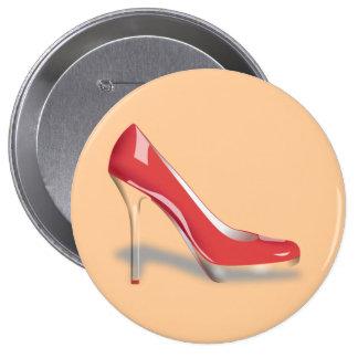 Bouton rond de chaussure rouge de talon haut badge avec épingle