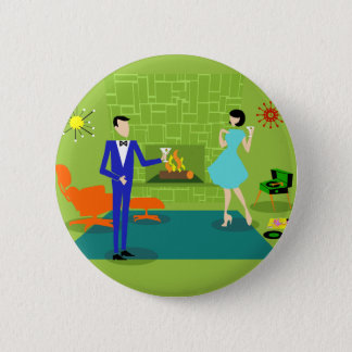 Bouton rond de couples modernes de la moitié du badge