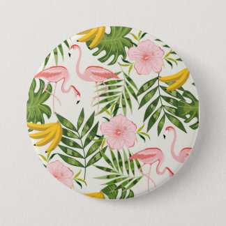 Bouton rond de flamant tropical d'été badges