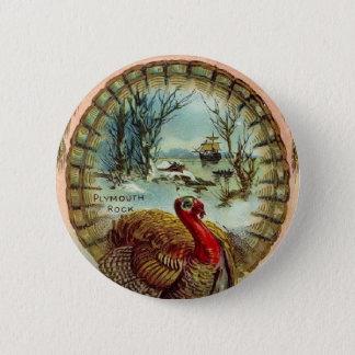 Bouton rond de la Turquie de thanksgiving vintage Badges