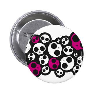 bouton rose/blanc d'emo de crâne badge