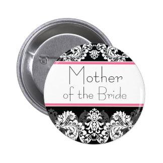 Bouton rose et noir de partie de mariage damassé badge rond 5 cm
