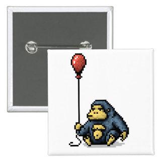 Bouton rouge d'art de pixel d'ombre de ballon de badge
