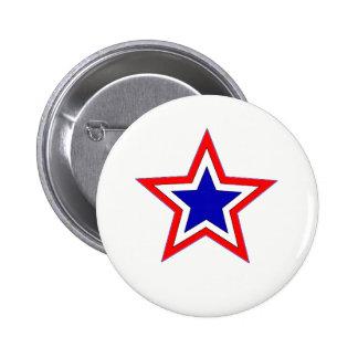 bouton rouge d'étoile blanche et bleue badges