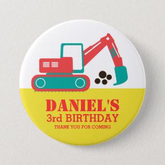 Bouton rouge jaune d'anniversaire de enfant badge