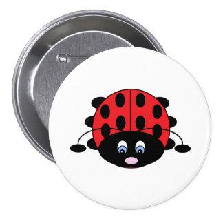 Bouton rouge mignon de coccinelle badge rond 7,6 cm