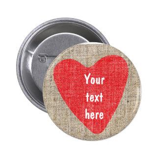 BOUTON rustique de Valentines de mariage Badge Rond 5 Cm