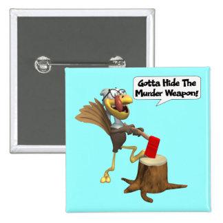 Bouton - thanksgiving drôle Turquie Badge Carré 5 Cm
