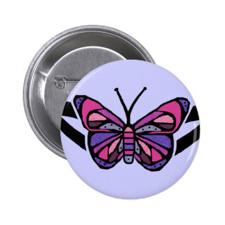 Bouton tribal coloré de papillon badge