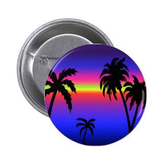 Bouton tropical de coucher du soleil de palmiers pin's