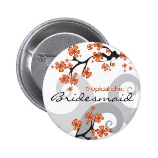 Bouton tropical d'étiquette de nom de demoiselle badge rond 5 cm