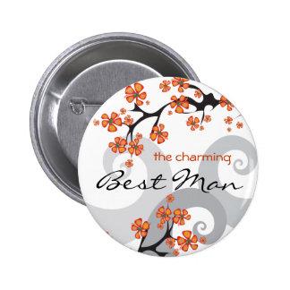 Bouton tropical d'étiquette de nom de mariage de badges