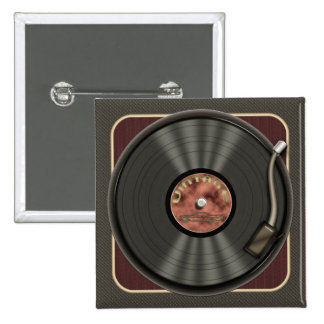Bouton vintage de carré de disque vinyle badge avec épingle