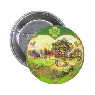 Bouton vintage du jour de St Patrick d'Irlandais Badge