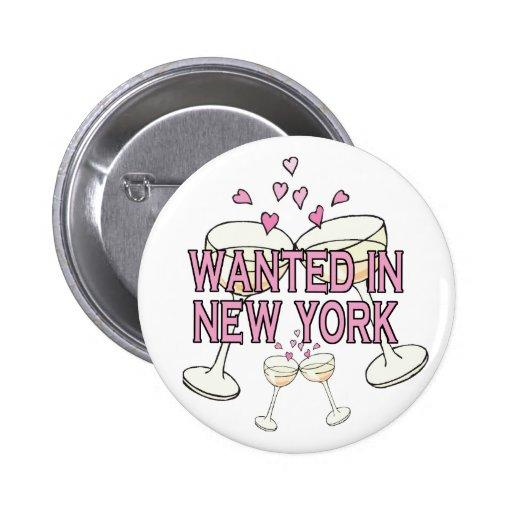 Bouton : Voulu dans NY Pin's Avec Agrafe