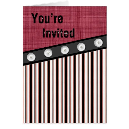 Boutonnez en bas de l'invitation blanc et noir rou carte de vœux