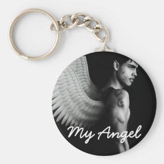 Boutonnez le mâle sexy de porte - clé mon ange porte-clé rond