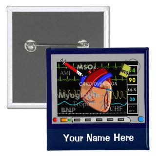 Boutons cardiaques de nom de moniteur d'infirmière pin's
